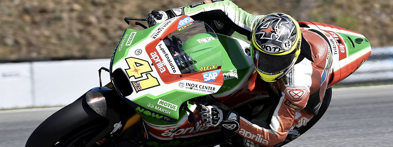 ESPARGARÓ RIDES HIS APRILIA STRAIGHT THROUGH TO Q2, BUT A CRASH STOPS HIM ON THE FOURTH ROW