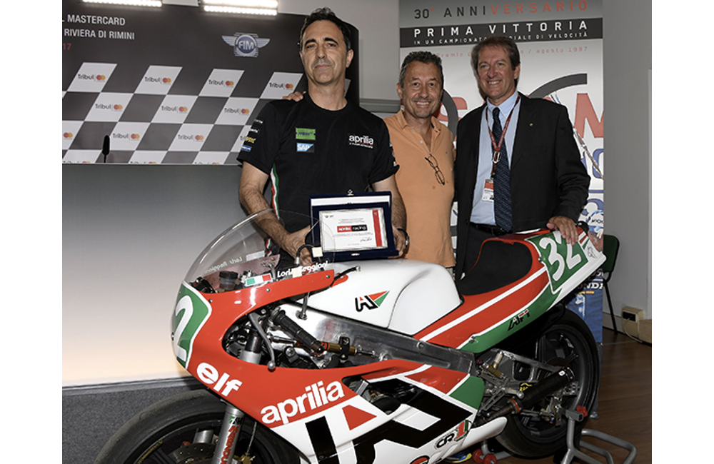 FMI-FEDERAZIONE MOTOCICLISTICA ITALIANA CELEBRATES APRILIA'S FIRST WORLD GRAND PRIX MOTORCYCLE RACING WIN_0