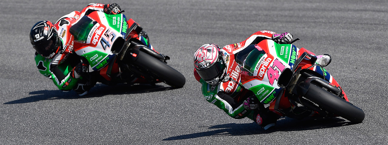 SEVENTH AND EIGHTH ROW AT MUGELLO FOR ESPARGARÓ'S AND REDDING'S APRILIAS