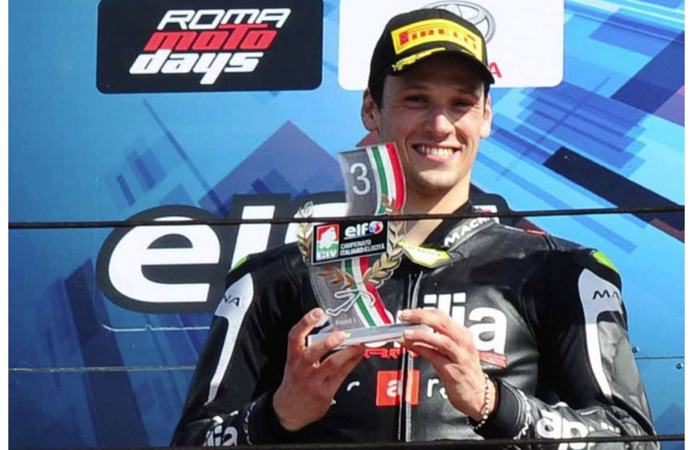 CIV 2019 - ROUND 1: LORENZO SAVADORI ON THE PODIUM WITH HIS APRILIA RSV4 FW-STK_0